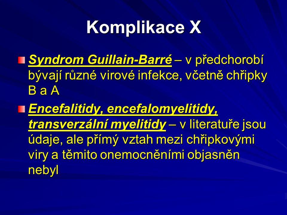 Komplikace X Syndrom Guillain-Barré – v předchorobí bývají různé virové infekce, včetně chřipky B a A Encefalitidy, encefalomyelitidy, transverzální m