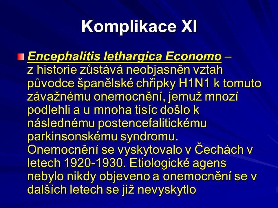 Komplikace XI Encephalitis lethargica Economo – z historie zůstává neobjasněn vztah původce španělské chřipky H1N1 k tomuto závažnému onemocnění, jemu