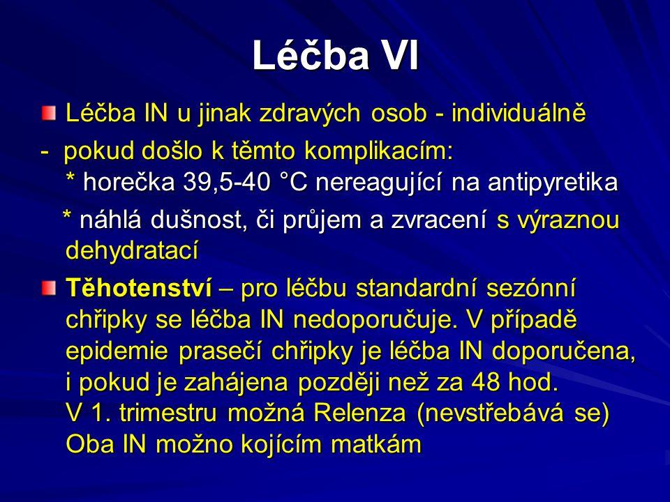 Léčba VI Léčba IN u jinak zdravých osob - individuálně - pokud došlo k těmto komplikacím: * horečka 39,5-40 °C nereagující na antipyretika * náhlá duš