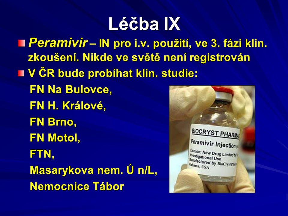 Léčba IX Peramivir – IN pro i.v. použití, ve 3. fázi klin. zkoušení. Nikde ve světě není registrován V ČR bude probíhat klin. studie: FN Na Bulovce, F