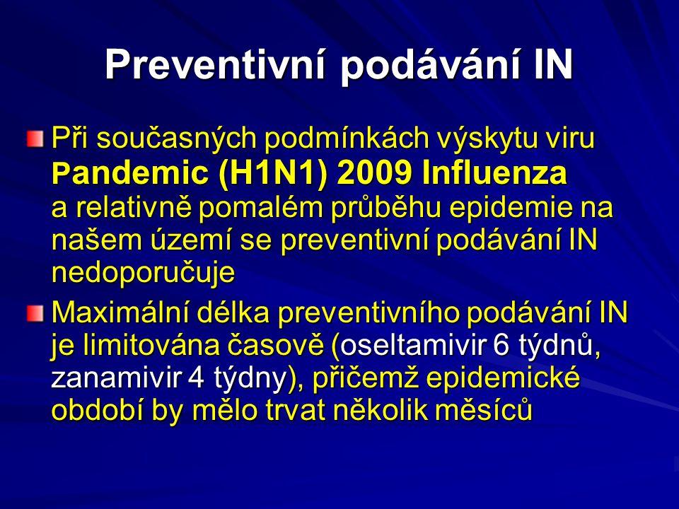 Preventivní podávání IN Při současných podmínkách výskytu viru P andemic (H1N1) 2009 Influenza a relativně pomalém průběhu epidemie na našem území se