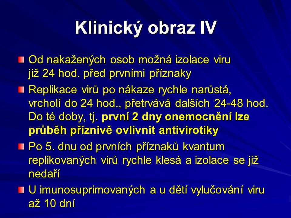 Klinický obraz IV Od nakažených osob možná izolace viru již 24 hod. před prvními příznaky Replikace virů po nákaze rychle narůstá, vrcholí do 24 hod.,