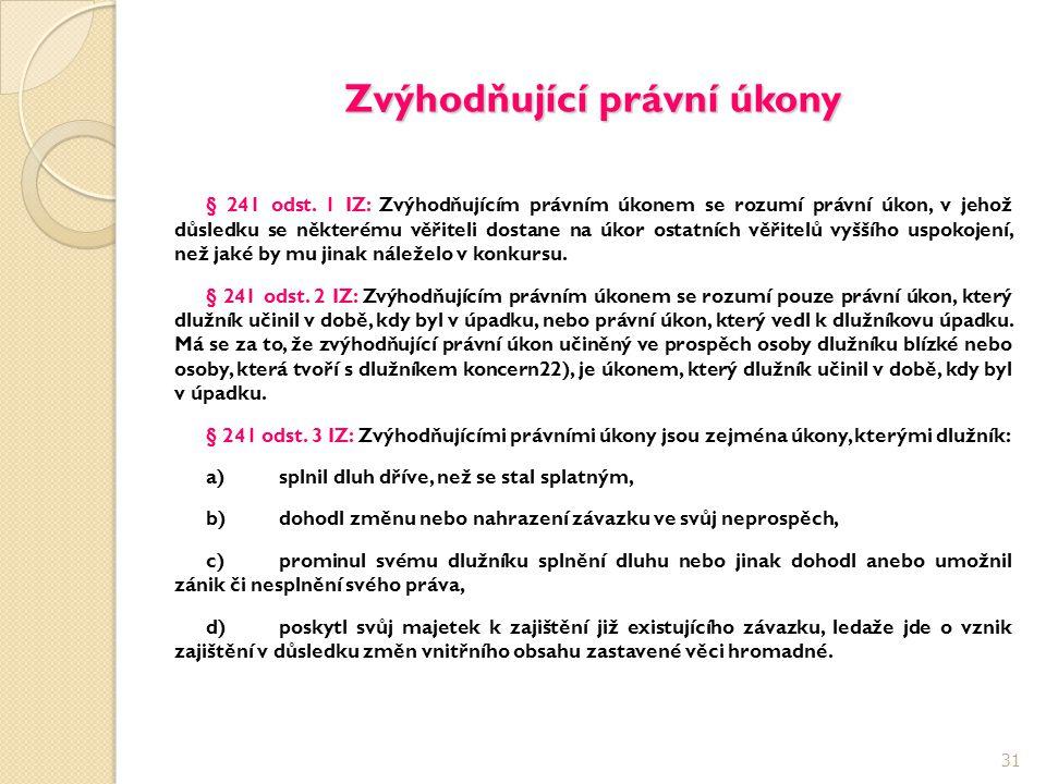 Zvýhodňující právní úkony § 241 odst. 1 IZ: Zvýhodňujícím právním úkonem se rozumí právní úkon, v jehož důsledku se některému věřiteli dostane na úkor