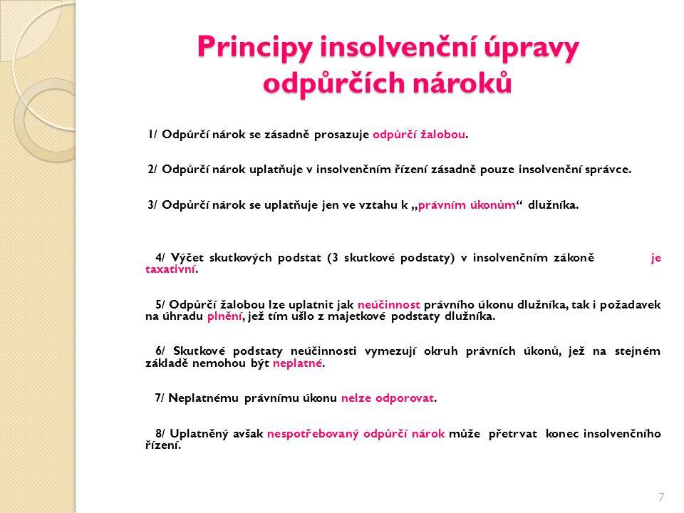 Principy insolvenční úpravy odpůrčích nároků 1/ Odpůrčí nárok se zásadně prosazuje odpůrčí žalobou. 2/ Odpůrčí nárok uplatňuje v insolvenčním řízení z