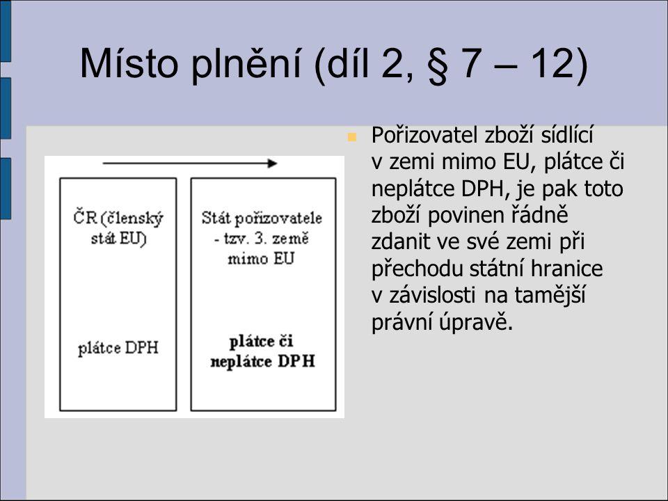 Místo plnění (díl 2, § 7 – 12) Pořizovatel zboží sídlící v zemi mimo EU, plátce či neplátce DPH, je pak toto zboží povinen řádně zdanit ve své zemi př