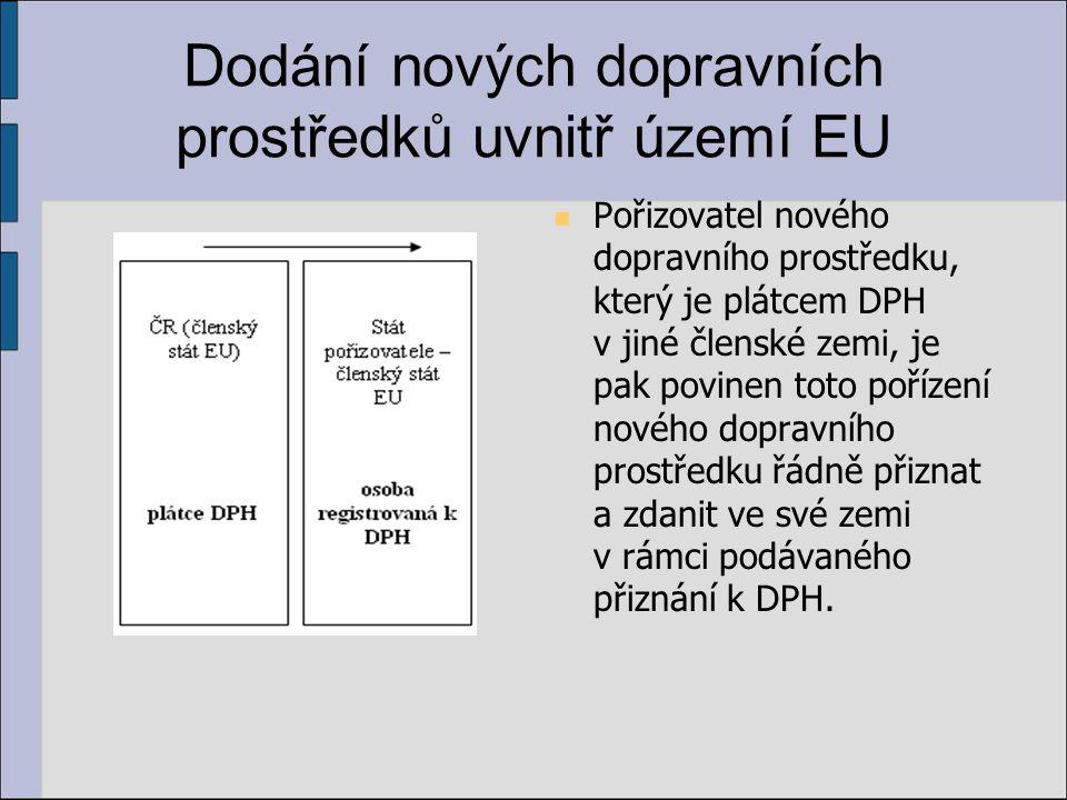 Dodání nových dopravních prostředků uvnitř území EU Pořizovatel nového dopravního prostředku, který je plátcem DPH v jiné členské zemi, je pak povinen