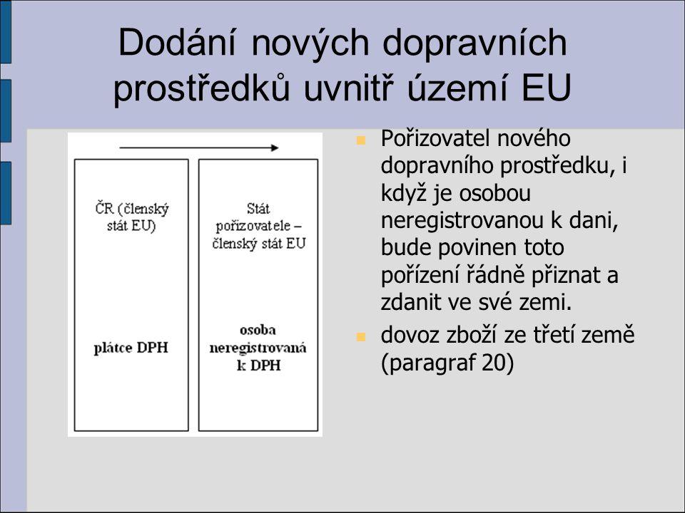 Dodání nových dopravních prostředků uvnitř území EU Pořizovatel nového dopravního prostředku, i když je osobou neregistrovanou k dani, bude povinen to