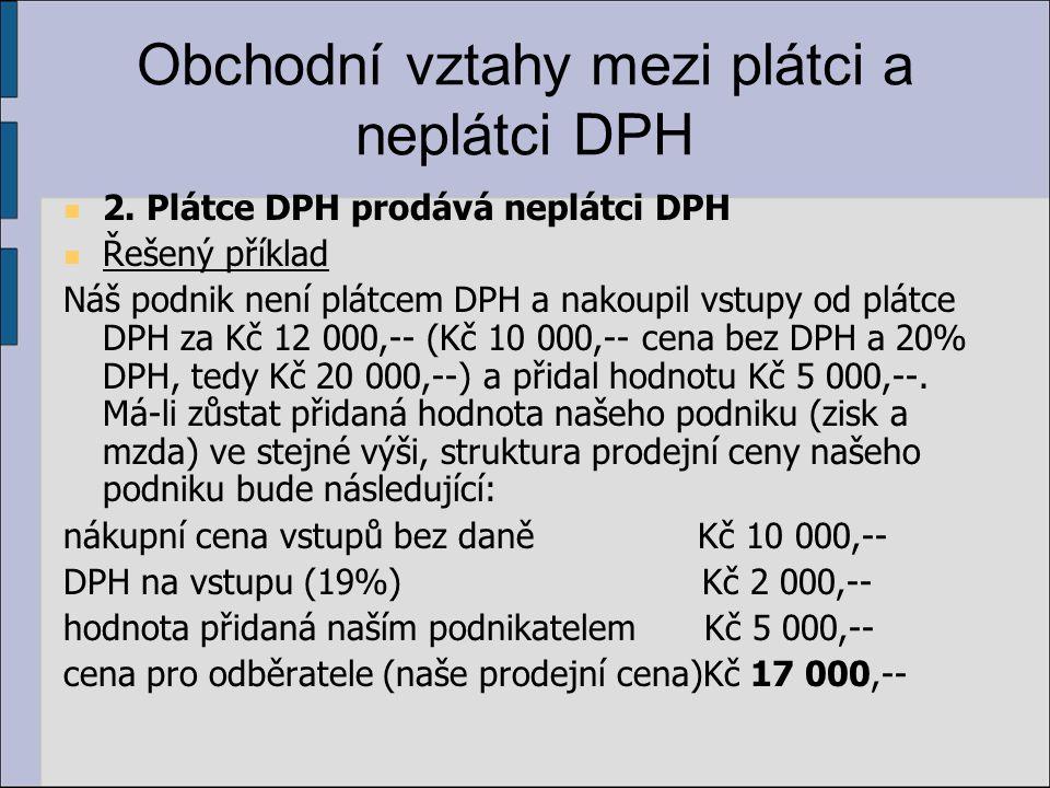 Obchodní vztahy mezi plátci a neplátci DPH 2. Plátce DPH prodává neplátci DPH Řešený příklad Náš podnik není plátcem DPH a nakoupil vstupy od plátce D