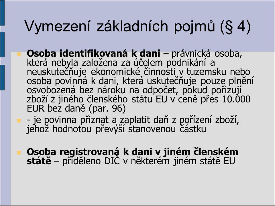 Plnění osvobozená od daně s nárokem na odpočet daně (díl 9, § 63 – 72) dodání zboží do jiného členského státu EU, pořízení zboží z jiného členského státu EU, vývoz zboží, poskytnutí služby do třetí země, dovoz zboží, …