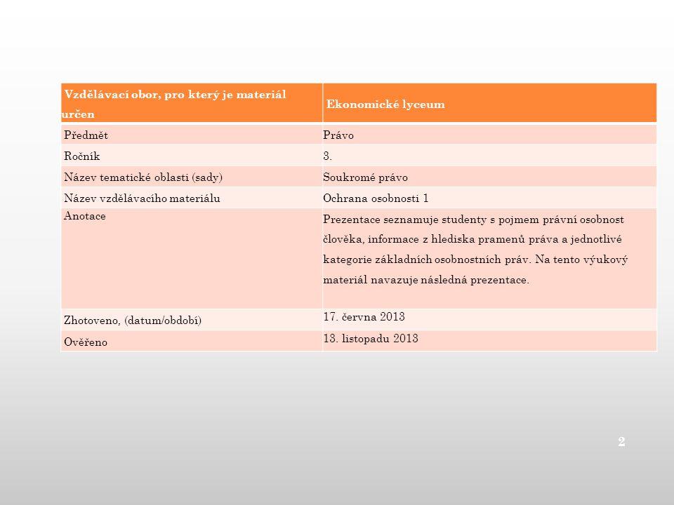 Vzdělávací obor, pro který je materiál určen Ekonomické lyceum Předmět Právo Ročník 3.