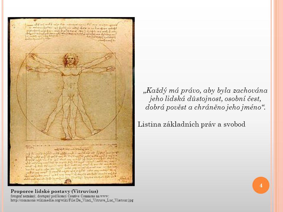 """Proporce lidské postavy (Vitruvius) fotograf neznámý, dostupný pod licencí Creative Commons na www: http://commons.wikimedia.org/wiki/File:Da_Vinci_Vitruve_Luc_Viatour.jpg """"Každý má právo, aby byla zachována jeho lidská důstojnost, osobní čest, dobrá pověst a chráněno jeho jméno ."""