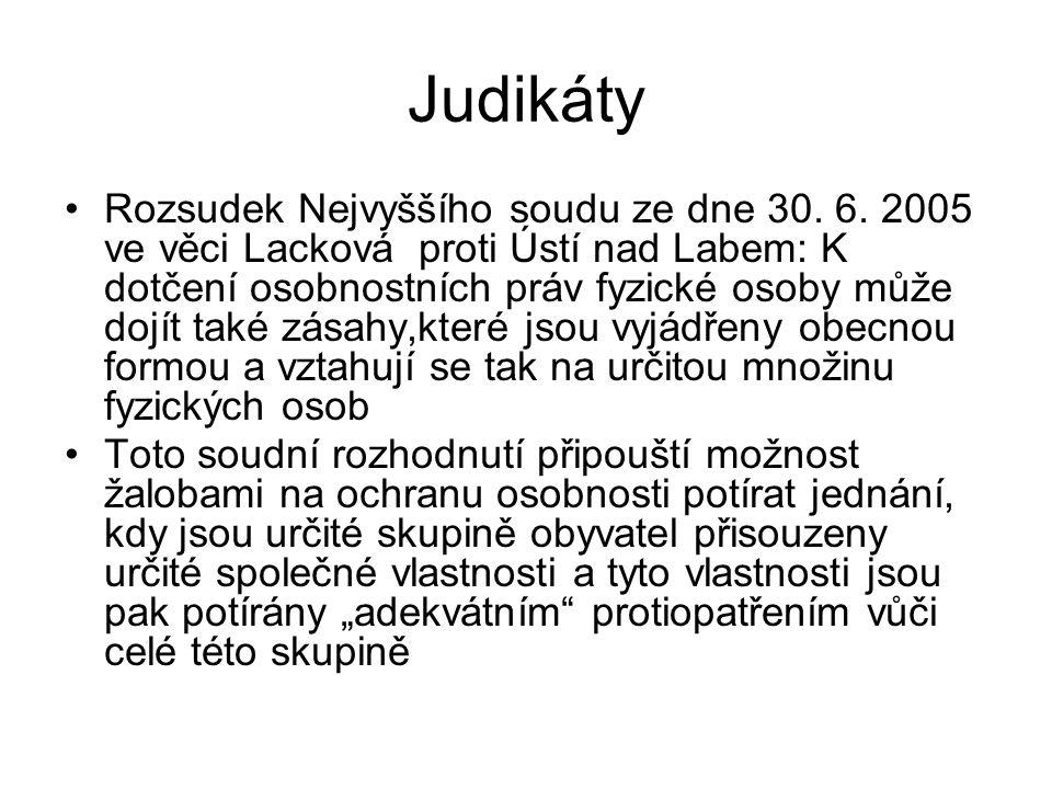 Judikáty Rozsudek Nejvyššího soudu ze dne 30. 6. 2005 ve věci Lacková proti Ústí nad Labem: K dotčení osobnostních práv fyzické osoby může dojít také