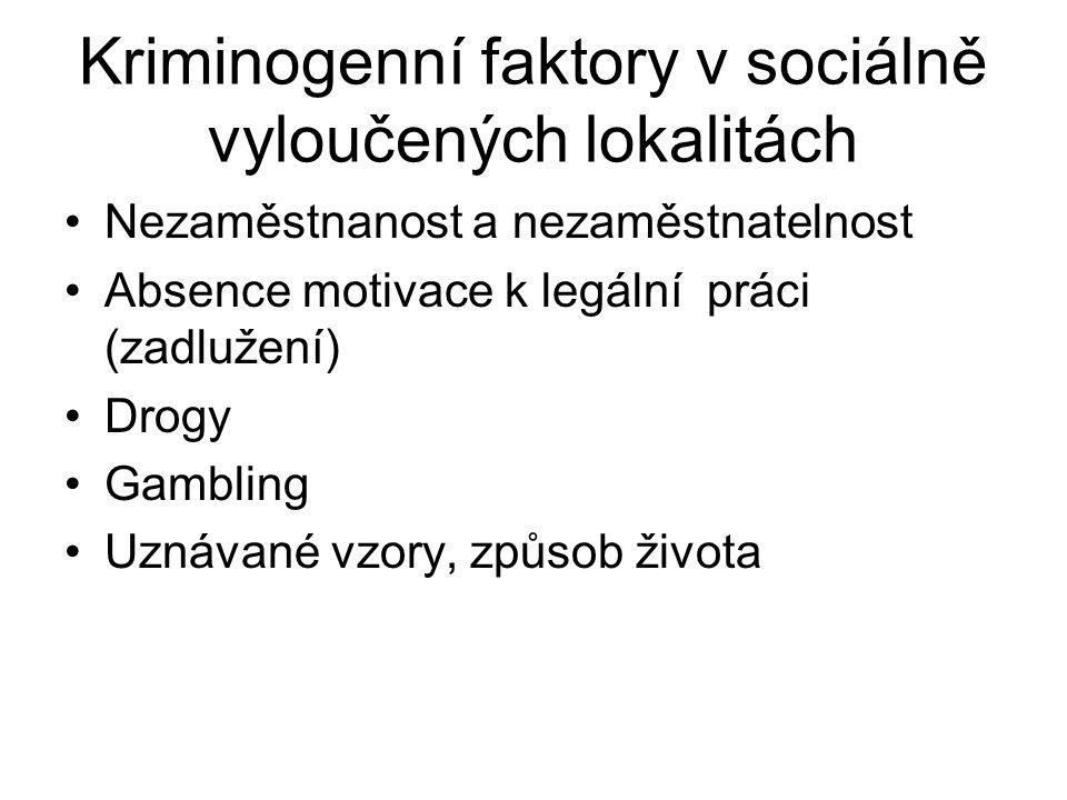 Kriminogenní faktory v sociálně vyloučených lokalitách Nezaměstnanost a nezaměstnatelnost Absence motivace k legální práci (zadlužení) Drogy Gambling