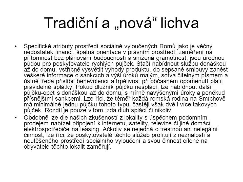 """Tradiční a """"nová"""" lichva Specifické atributy prostředí sociálně vyloučených Romů jako je věčný nedostatek financí, špatná orientace v právním prostřed"""
