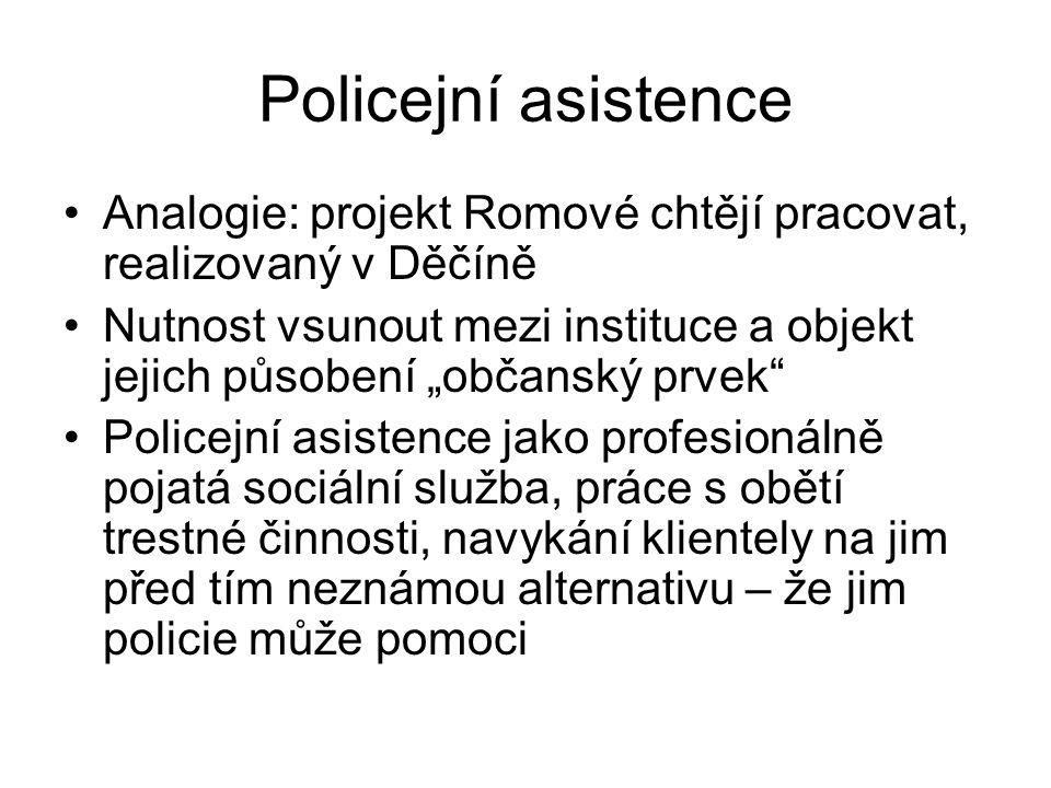 """Policejní asistence Analogie: projekt Romové chtějí pracovat, realizovaný v Děčíně Nutnost vsunout mezi instituce a objekt jejich působení """"občanský p"""