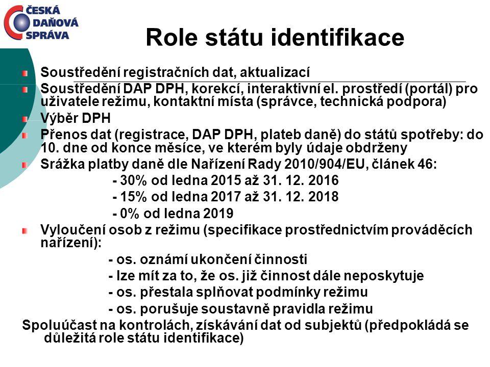 Role státu identifikace Soustředění registračních dat, aktualizací Soustředění DAP DPH, korekcí, interaktivní el. prostředí (portál) pro uživatele rež