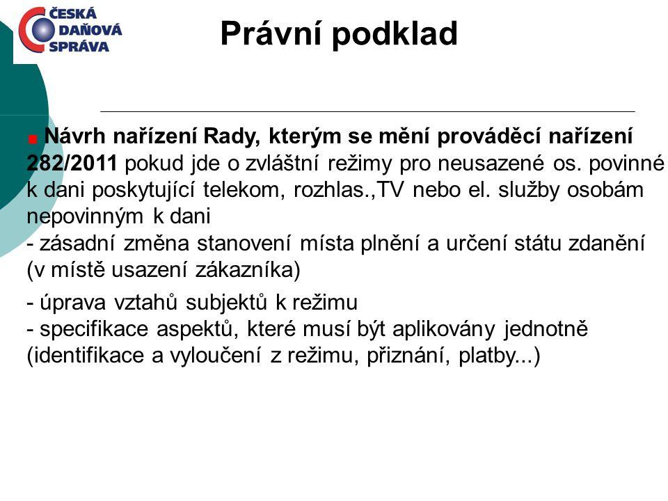 Návrh nařízení Rady, kterým se mění prováděcí nařízení 282/2011 pokud jde o zvláštní režimy pro neusazené os. povinné k dani poskytující telekom, rozh