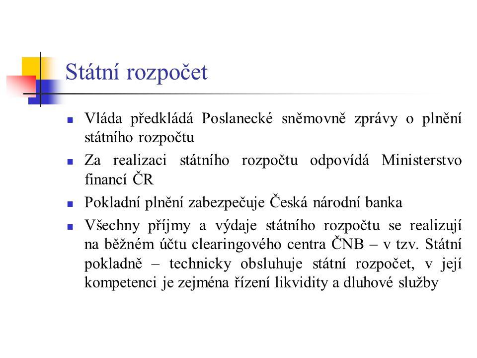 Státní rozpočet Vláda předkládá Poslanecké sněmovně zprávy o plnění státního rozpočtu Za realizaci státního rozpočtu odpovídá Ministerstvo financí ČR