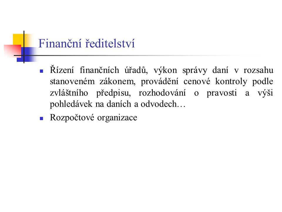 Finanční ředitelství Řízení finančních úřadů, výkon správy daní v rozsahu stanoveném zákonem, provádění cenové kontroly podle zvláštního předpisu, roz