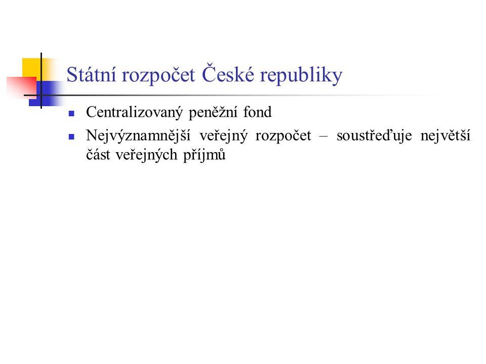 Státní rozpočet České republiky Centralizovaný peněžní fond Nejvýznamnější veřejný rozpočet – soustřeďuje největší část veřejných příjmů