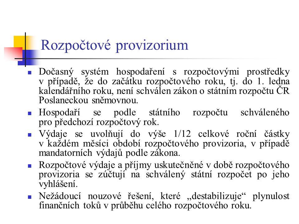 Rozpočtové provizorium Dočasný systém hospodaření s rozpočtovými prostředky v případě, že do začátku rozpočtového roku, tj. do 1. ledna kalendářního r