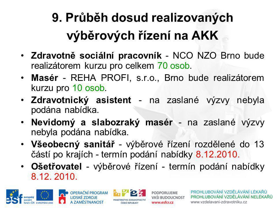 9. Průběh dosud realizovaných výběrových řízení na AKK Zdravotně sociální pracovník - NCO NZO Brno bude realizátorem kurzu pro celkem 70 osob. Masér -