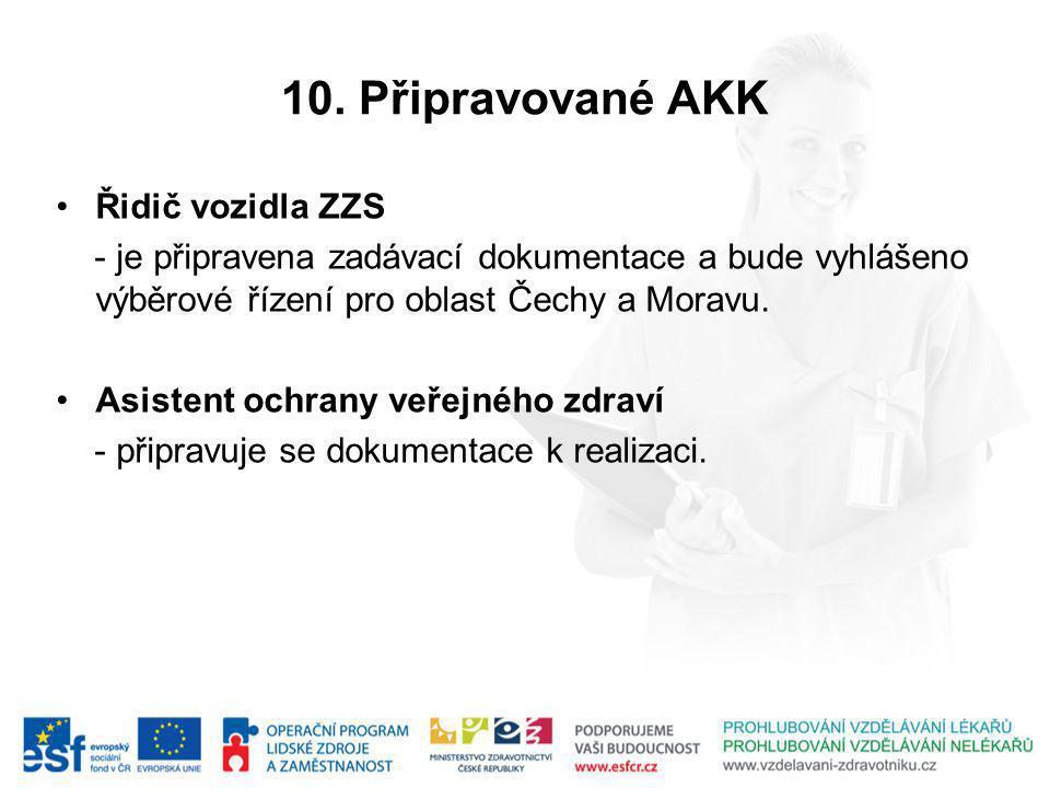 10. Připravované AKK Řidič vozidla ZZS - je připravena zadávací dokumentace a bude vyhlášeno výběrové řízení pro oblast Čechy a Moravu. Asistent ochra