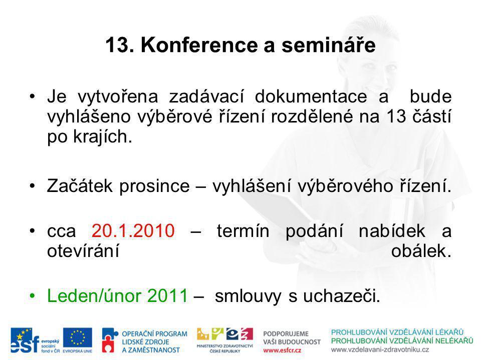 13. Konference a semináře Je vytvořena zadávací dokumentace a bude vyhlášeno výběrové řízení rozdělené na 13 částí po krajích. Začátek prosince – vyhl