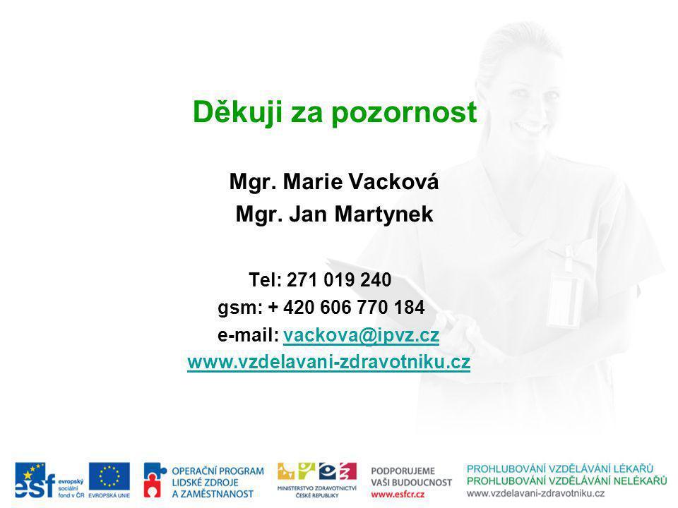 Děkuji za pozornost Mgr. Marie Vacková Mgr.