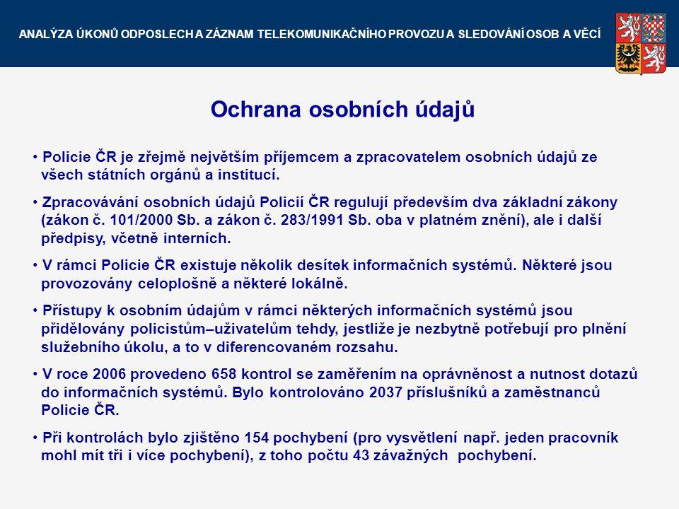 Ochrana osobních údajů Policie ČR je zřejmě největším příjemcem a zpracovatelem osobních údajů ze všech státních orgánů a institucí. Zpracovávání osob