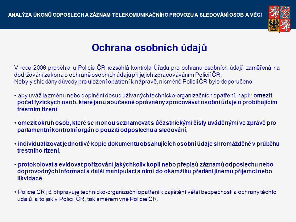 Ochrana osobních údajů V roce 2006 proběhla u Policie ČR rozsáhlá kontrola Úřadu pro ochranu osobních údajů zaměřená na dodržování zákona o ochraně os