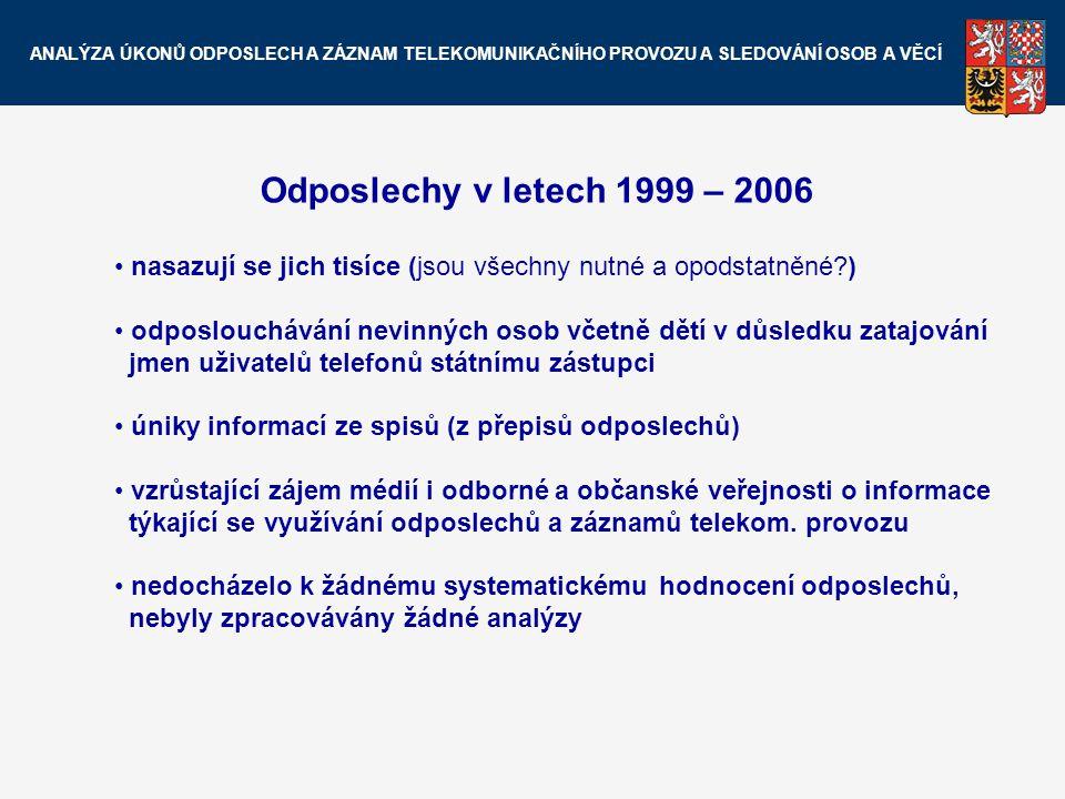 Odposlechy v letech 1999 – 2006 nasazují se jich tisíce (jsou všechny nutné a opodstatněné?) odposlouchávání nevinných osob včetně dětí v důsledku zat