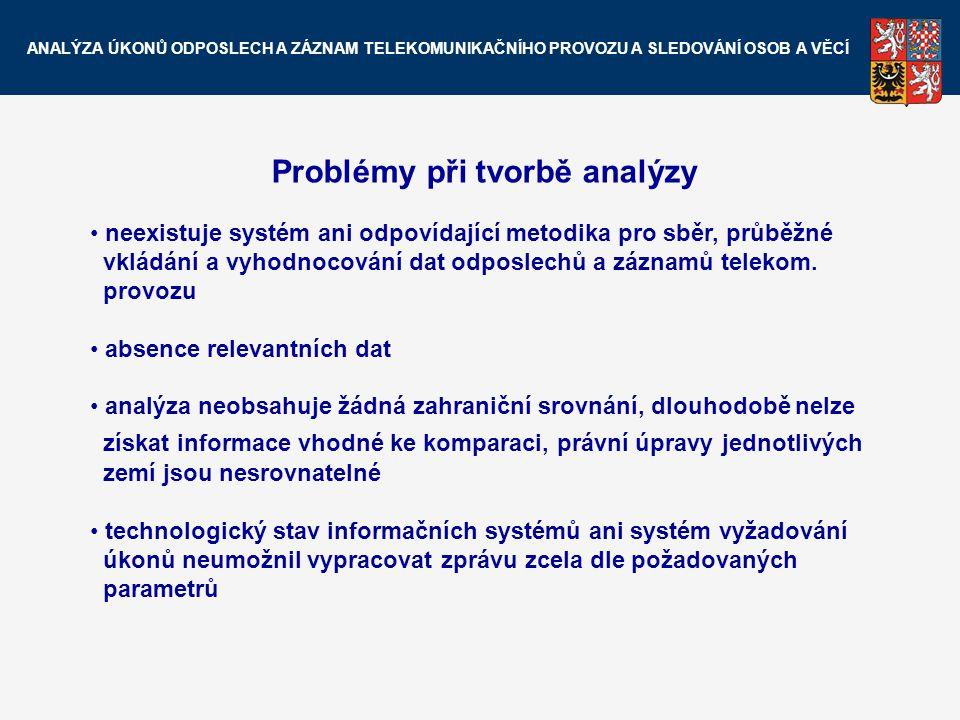 Problémy při tvorbě analýzy neexistuje systém ani odpovídající metodika pro sběr, průběžné vkládání a vyhodnocování dat odposlechů a záznamů telekom.