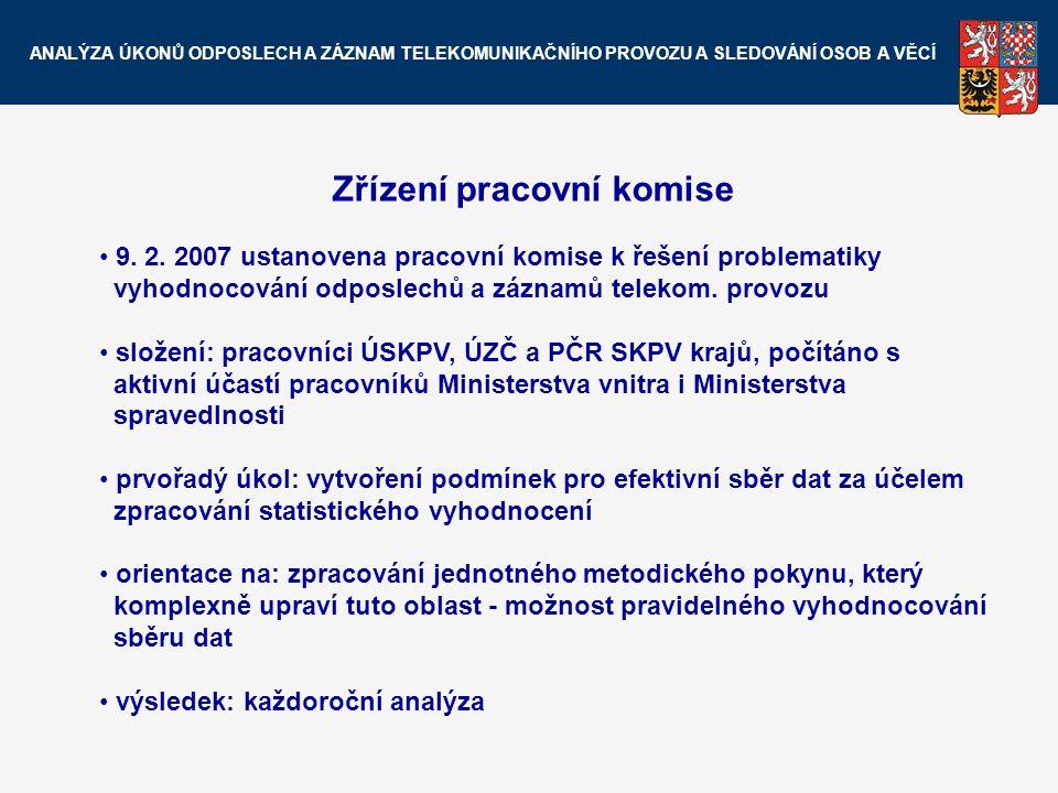 Zřízení pracovní komise 9. 2. 2007 ustanovena pracovní komise k řešení problematiky vyhodnocování odposlechů a záznamů telekom. provozu složení: praco