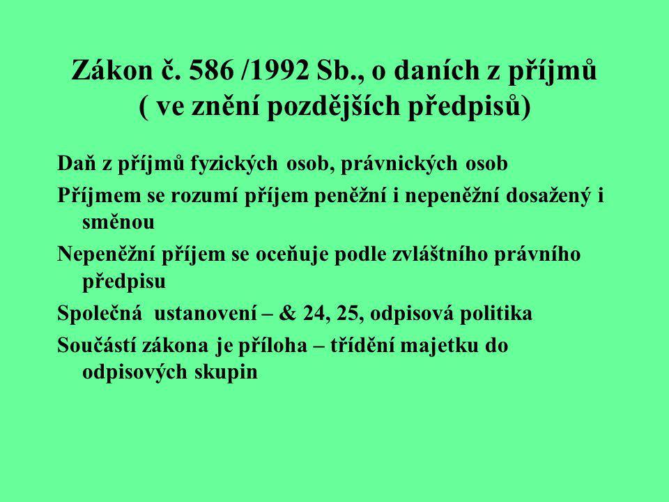 Zákon č. 586 /1992 Sb., o daních z příjmů ( ve znění pozdějších předpisů) Daň z příjmů fyzických osob, právnických osob Příjmem se rozumí příjem peněž