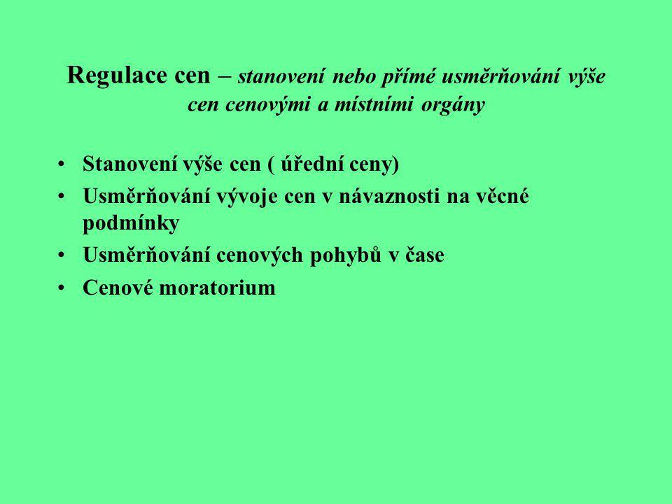 Regulace cen – stanovení nebo přímé usměrňování výše cen cenovými a místními orgány Stanovení výše cen ( úřední ceny) Usměrňování vývoje cen v návazno