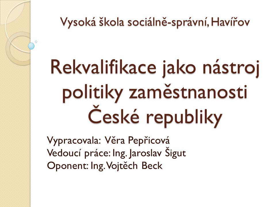 Vysoká škola sociálně-správní, Havířov Rekvalifikace jako nástroj politiky zaměstnanosti České republiky Vypracovala: Věra Pepřicová Vedoucí práce: Ing.