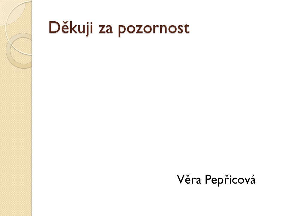 Děkuji za pozornost Věra Pepřicová