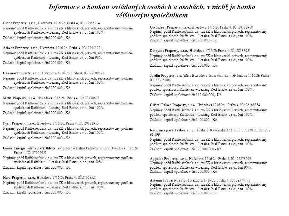 Informace o bankou ovládaných osobách a osobách, v nichž je banka většinovým společníkem Viktor Property, s.r.o., Hvězdova 1716/2b, Praha 4, IČ: 28374754 Nepřímý podíl Raiffeisenbank a.s., na ZK a hlasovacích právech, reprezentovaný podílem společnosti Raiffeisen – Leasing Real Estate, s.r.o., činí 100%.
