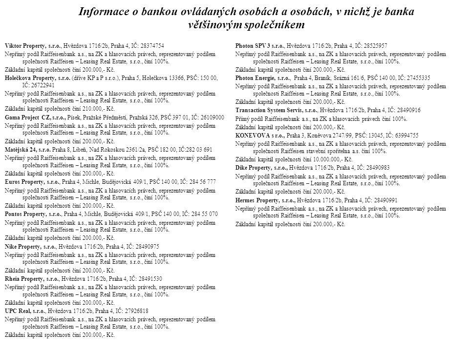 Informace o bankou ovládaných osobách a osobách, v nichž je banka většinovým společníkem Viktor Property, s.r.o., Hvězdova 1716/2b, Praha 4, IČ: 28374