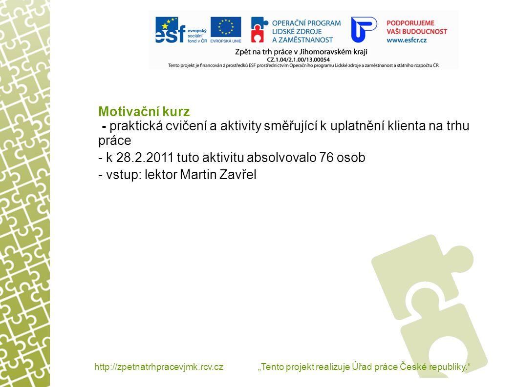Motivační kurz - praktická cvičení a aktivity směřující k uplatnění klienta na trhu práce - k 28.2.2011 tuto aktivitu absolvovalo 76 osob - vstup: lektor Martin Zavřel