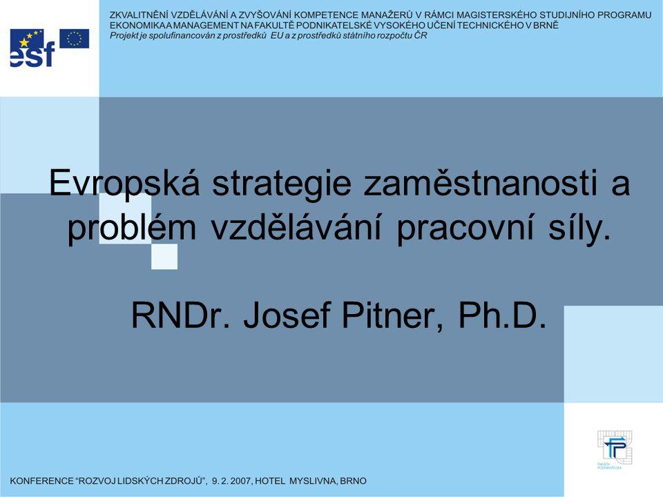 Evropská strategie zaměstnanosti a problém vzdělávání pracovní síly. RNDr. Josef Pitner, Ph.D.