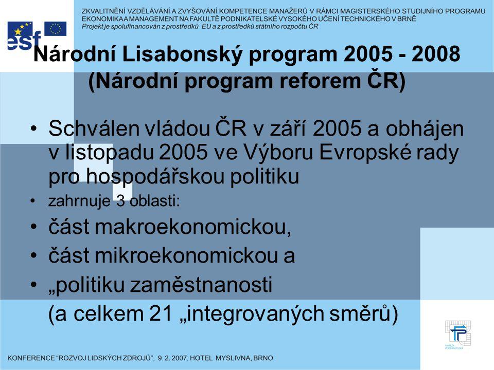"""Národní Lisabonský program 2005 - 2008 (Národní program reforem ČR) Schválen vládou ČR v září 2005 a obhájen v listopadu 2005 ve Výboru Evropské rady pro hospodářskou politiku zahrnuje 3 oblasti: část makroekonomickou, část mikroekonomickou a """"politiku zaměstnanosti (a celkem 21 """"integrovaných směrů)"""