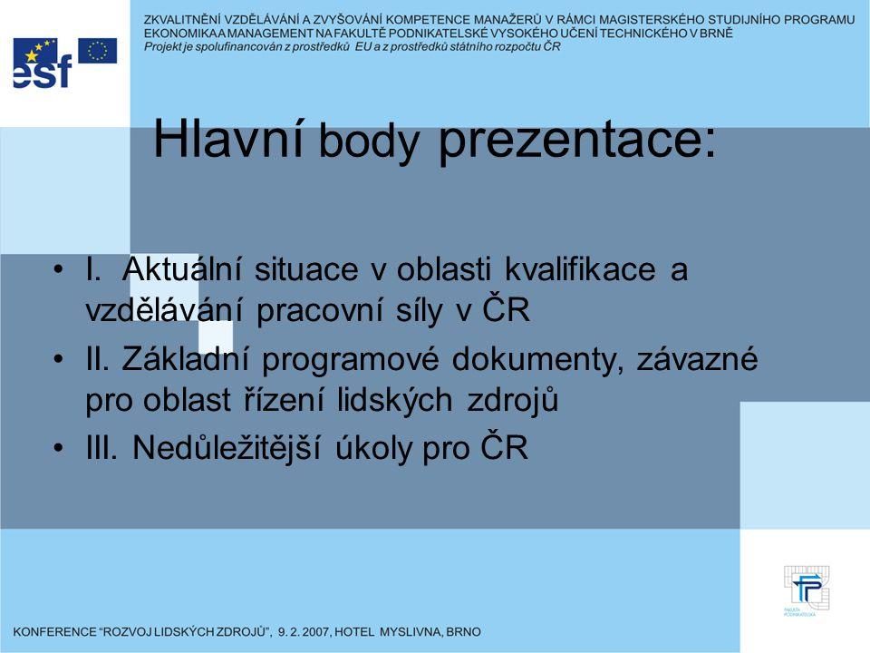 Hlavní body prezentace: I. Aktuální situace v oblasti kvalifikace a vzdělávání pracovní síly v ČR II. Základní programové dokumenty, závazné pro oblas