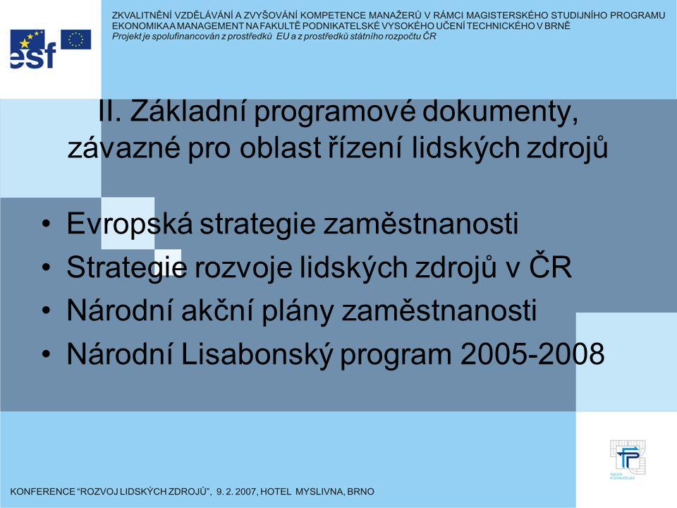 II. Základní programové dokumenty, závazné pro oblast řízení lidských zdrojů Evropská strategie zaměstnanosti Strategie rozvoje lidských zdrojů v ČR N