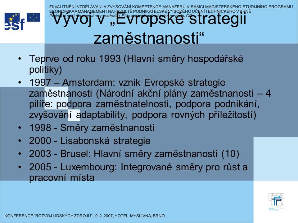 """Vývoj v """"Evropské strategii zaměstnanosti Teprve od roku 1993 (Hlavní směry hospodářské politiky) 1997 – Amsterdam: vznik Evropské strategie zaměstnanosti (Národní akční plány zaměstnanosti – 4 pilíře: podpora zaměstnatelnosti, podpora podnikání, zvyšování adaptability, podpora rovných příležitostí) 1998 - Směry zaměstnanosti 2000 - Lisabonská strategie 2003 - Brusel: Hlavní směry zaměstnanosti (10) 2005 - Luxembourg: Integrované směry pro růst a pracovní místa"""