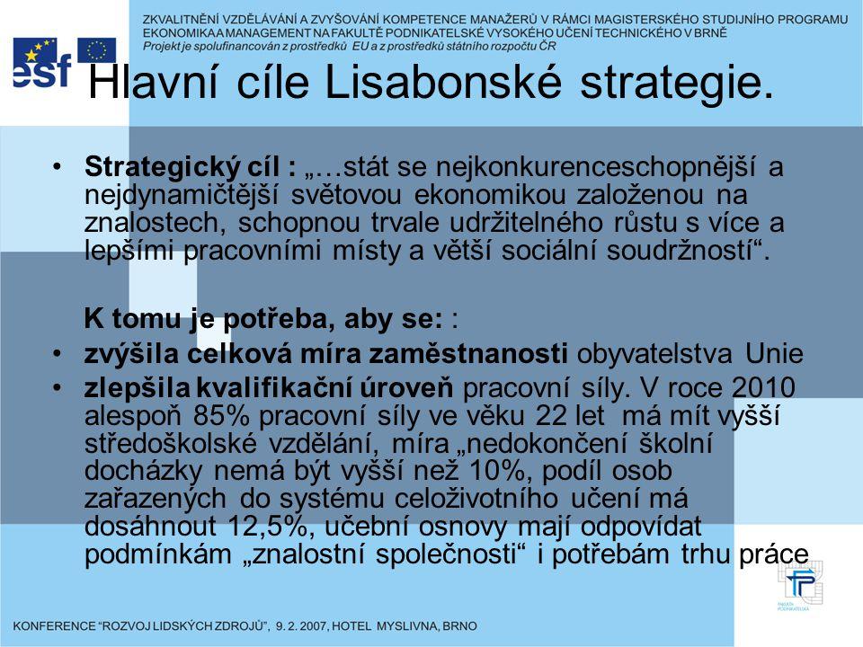 """Hlavní cíle Lisabonské strategie. Strategický cíl : """"…stát se nejkonkurenceschopnější a nejdynamičtější světovou ekonomikou založenou na znalostech, s"""