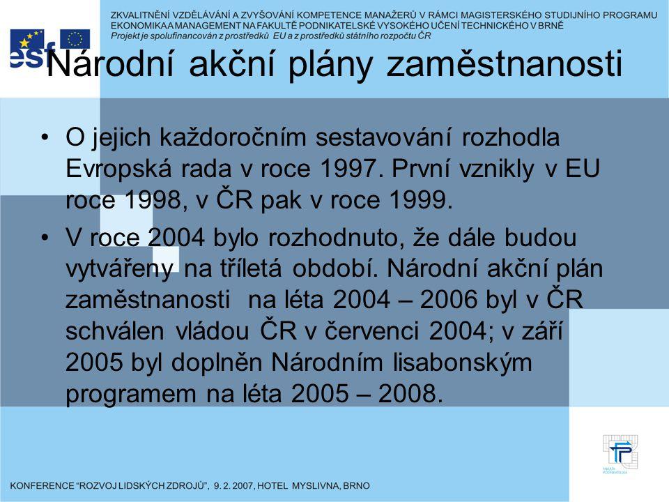 Národní akční plány zaměstnanosti O jejich každoročním sestavování rozhodla Evropská rada v roce 1997. První vznikly v EU roce 1998, v ČR pak v roce 1