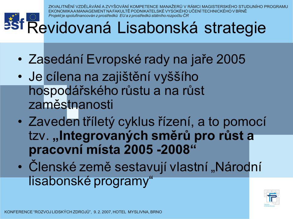 Revidovaná Lisabonská strategie Zasedání Evropské rady na jaře 2005 Je cílena na zajištění vyššího hospodářského růstu a na růst zaměstnanosti Zaveden