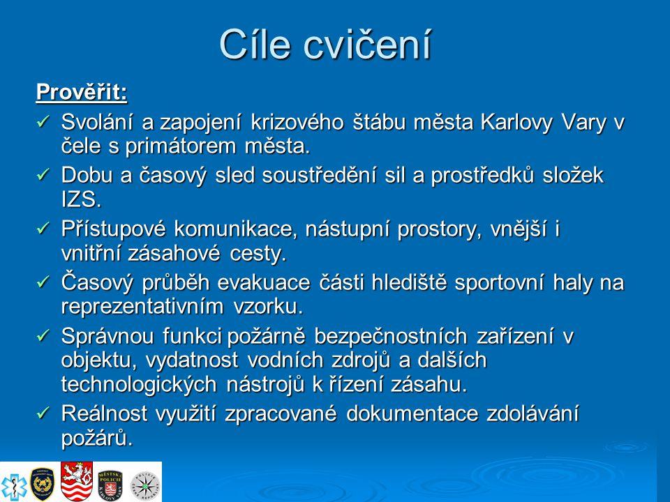 Cíle cvičení Prověřit: Svolání a zapojení krizového štábu města Karlovy Vary v čele s primátorem města. Svolání a zapojení krizového štábu města Karlo